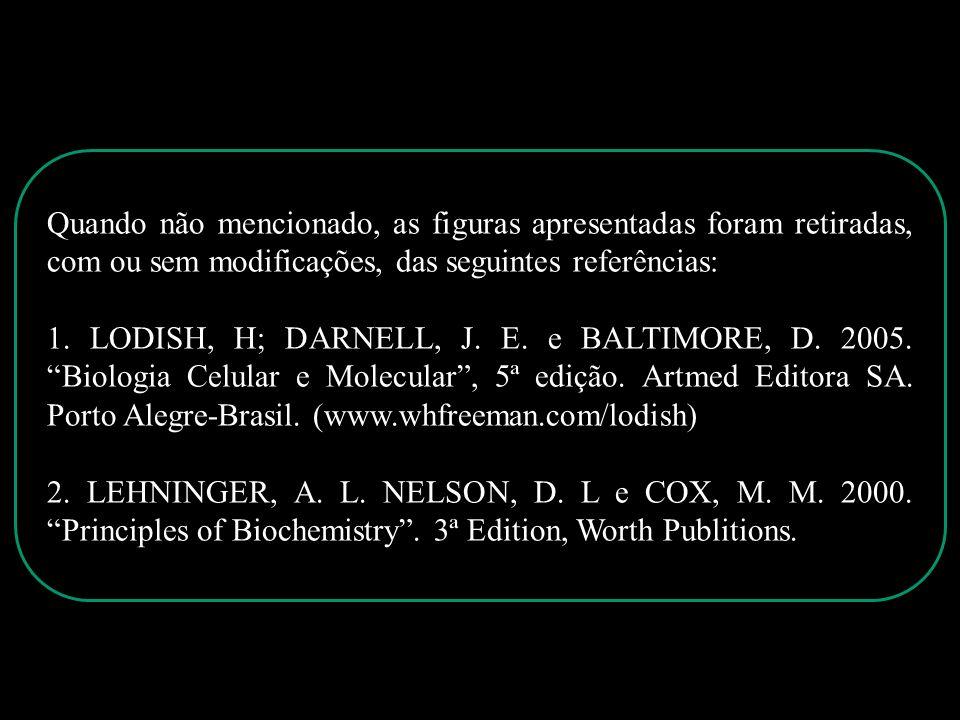 Quando não mencionado, as figuras apresentadas foram retiradas, com ou sem modificações, das seguintes referências: 1. LODISH, H; DARNELL, J. E. e BAL