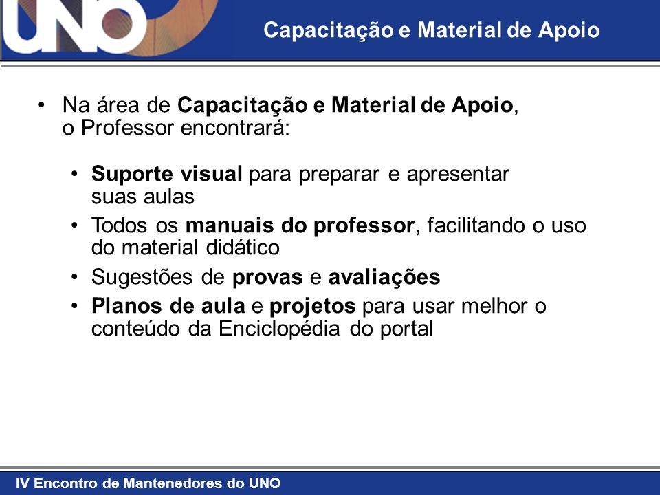 IV Encontro de Mantenedores do UNO Capacitação e Material de Apoio Na área de Capacitação e Material de Apoio, o Professor encontrará: Suporte visual