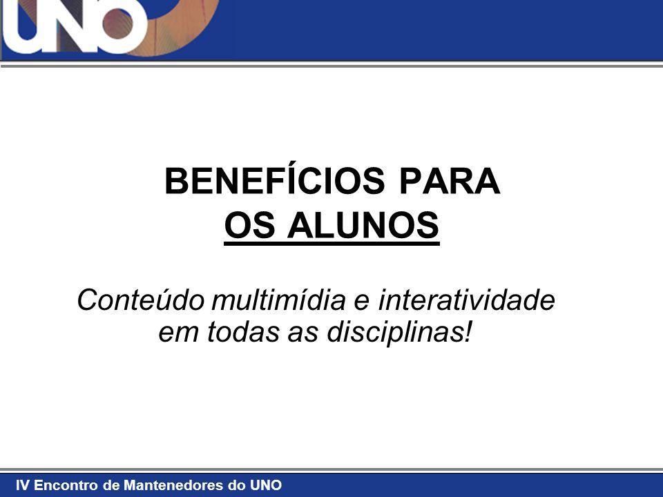 IV Encontro de Mantenedores do UNO BENEFÍCIOS PARA OS ALUNOS Conteúdo multimídia e interatividade em todas as disciplinas!