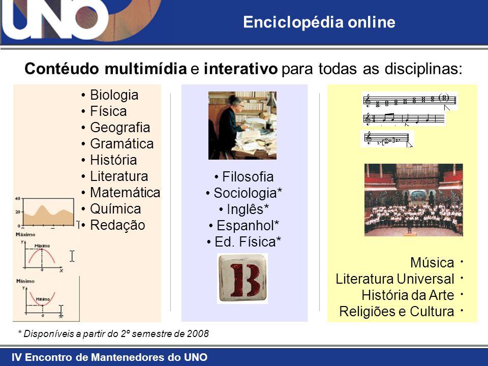 IV Encontro de Mantenedores do UNO Enciclopédia online Filosofia Sociologia* Inglês* Espanhol* Ed. Física* Música Literatura Universal História da Art