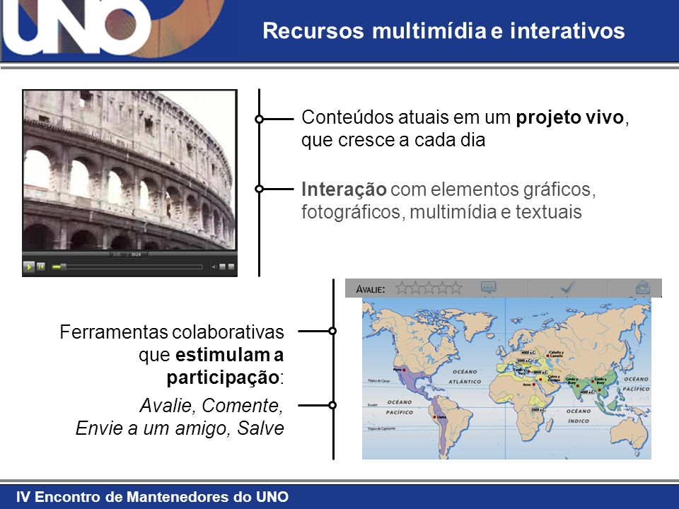 IV Encontro de Mantenedores do UNO Recursos multimídia e interativos Conteúdos atuais em um projeto vivo, que cresce a cada dia Interação com elemento