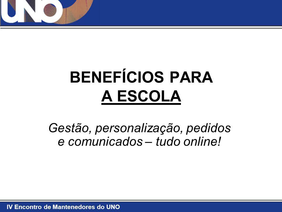 IV Encontro de Mantenedores do UNO BENEFÍCIOS PARA A ESCOLA Gestão, personalização, pedidos e comunicados – tudo online!