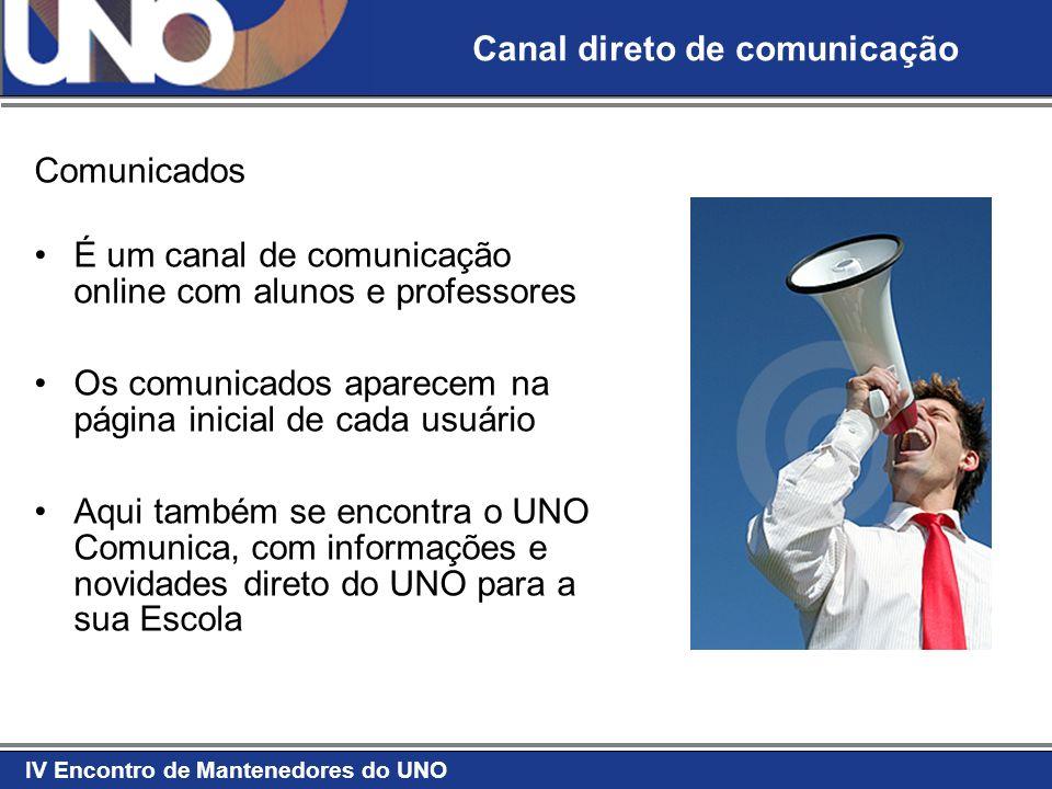 IV Encontro de Mantenedores do UNO Comunicados É um canal de comunicação online com alunos e professores Os comunicados aparecem na página inicial de