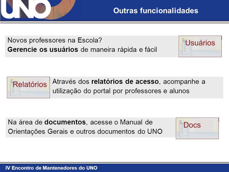 IV Encontro de Mantenedores do UNO Através dos relatórios de acesso, acompanhe a utilização do portal por professores e alunos Novos professores na Es