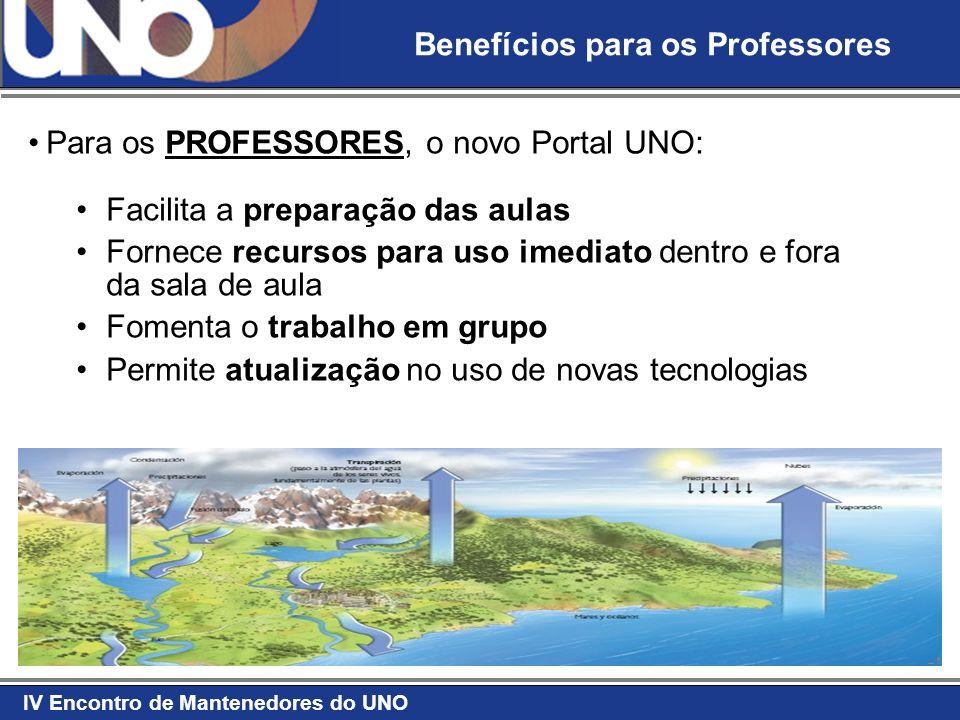 IV Encontro de Mantenedores do UNO Para os PROFESSORES, o novo Portal UNO: Facilita a preparação das aulas Fornece recursos para uso imediato dentro e