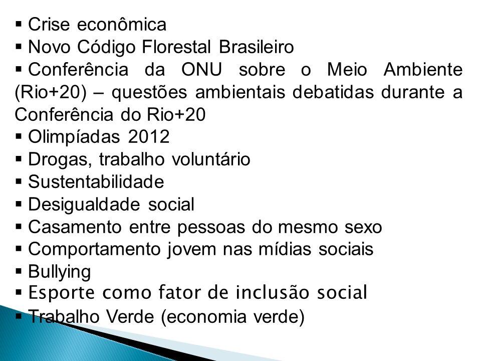 Crise econômica Novo Código Florestal Brasileiro Conferência da ONU sobre o Meio Ambiente (Rio+20) – questões ambientais debatidas durante a Conferênc