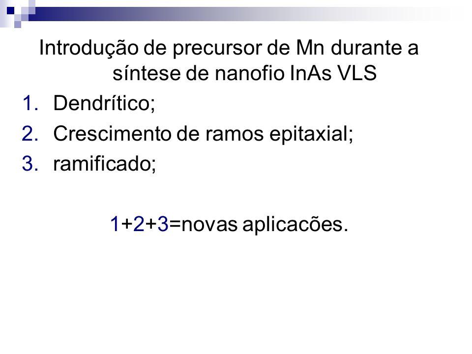 Introdução de precursor de Mn durante a síntese de nanofio InAs VLS 1.Dendrítico; 2.Crescimento de ramos epitaxial; 3.ramificado; 1+2+3=novas aplicacõ