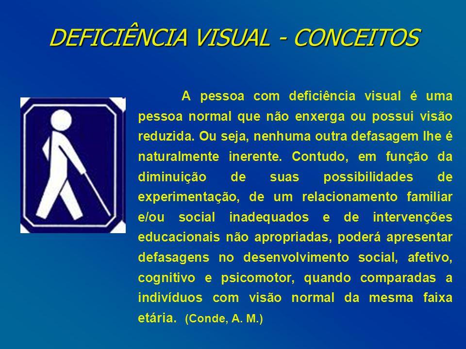 DEFICIÊNCIA VISUAL - CONCEITOS A pessoa com deficiência visual é uma pessoa normal que não enxerga ou possui visão reduzida. Ou seja, nenhuma outra de