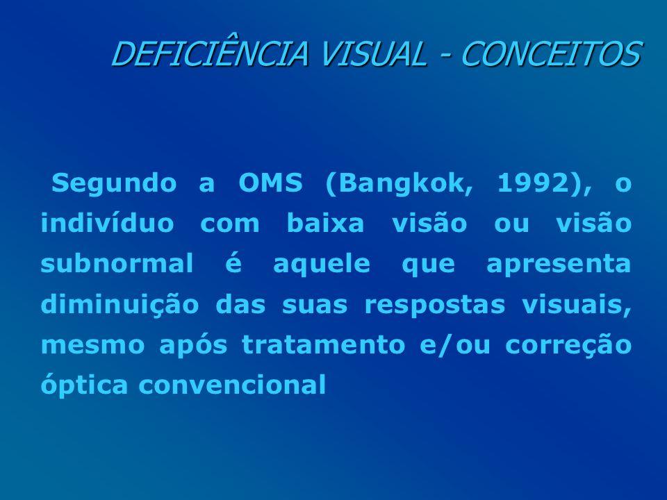 DEFICIÊNCIA VISUAL - CONCEITOS DEFICIÊNCIA VISUAL - CONCEITOS Segundo a OMS (Bangkok, 1992), o indivíduo com baixa visão ou visão subnormal é aquele q
