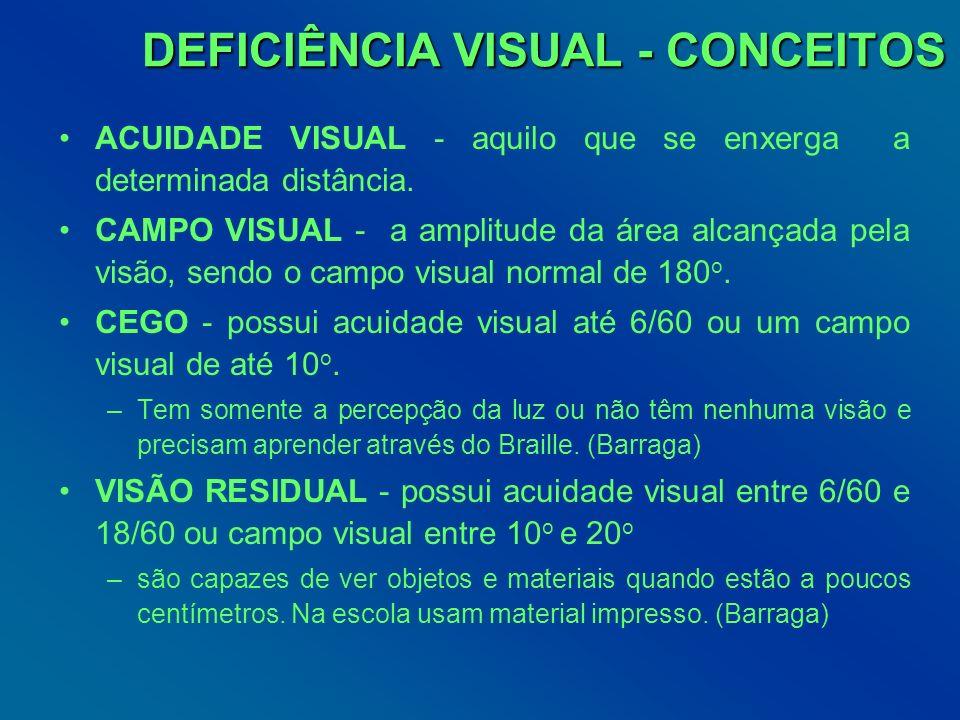 DEFICIÊNCIA VISUAL - CONCEITOS DEFICIÊNCIA VISUAL - CONCEITOS ACUIDADE VISUAL - aquilo que se enxerga a determinada distância. CAMPO VISUAL - a amplit