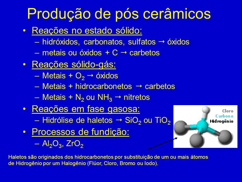 Produção de pós cerâmicos Reações no estado sólido: –hidróxidos, carbonatos, sulfatos óxidos –metais ou óxidos + C carbetos Reações sólido-gás: –Metai