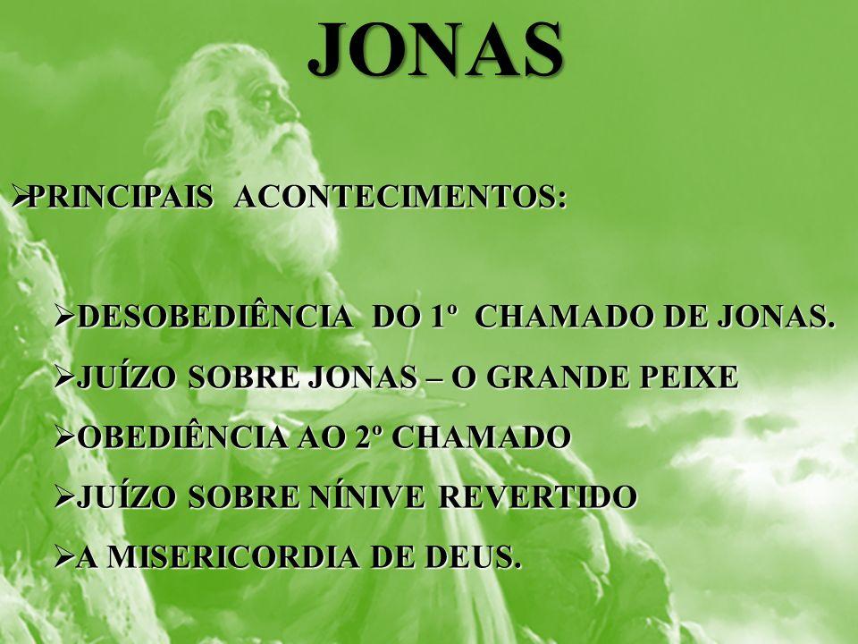 JONAS PRINCIPAIS ACONTECIMENTOS: PRINCIPAIS ACONTECIMENTOS: DESOBEDIÊNCIA DO 1º CHAMADO DE JONAS. DESOBEDIÊNCIA DO 1º CHAMADO DE JONAS. JUÍZO SOBRE JO