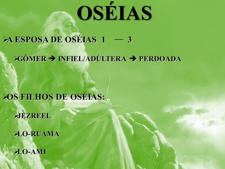 OSÉIAS A ESPOSA DE OSÉIAS 1 3 A ESPOSA DE OSÉIAS 1 3 GÔMER INFIEL/ADÚLTERA PERDOADA GÔMER INFIEL/ADÚLTERA PERDOADA OS FILHOS DE OSÉIAS: OS FILHOS DE O