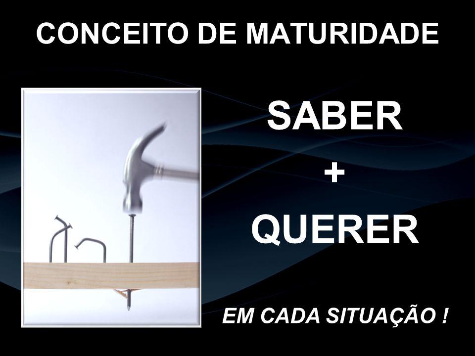 CONCEITO DE MATURIDADE SABER + QUERER EM CADA SITUAÇÃO !
