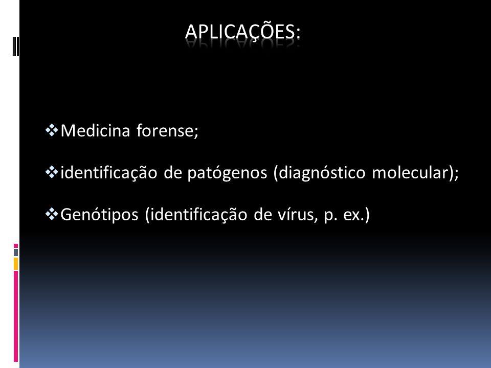 Medicina forense; identificação de patógenos (diagnóstico molecular); Genótipos (identificação de vírus, p. ex.)