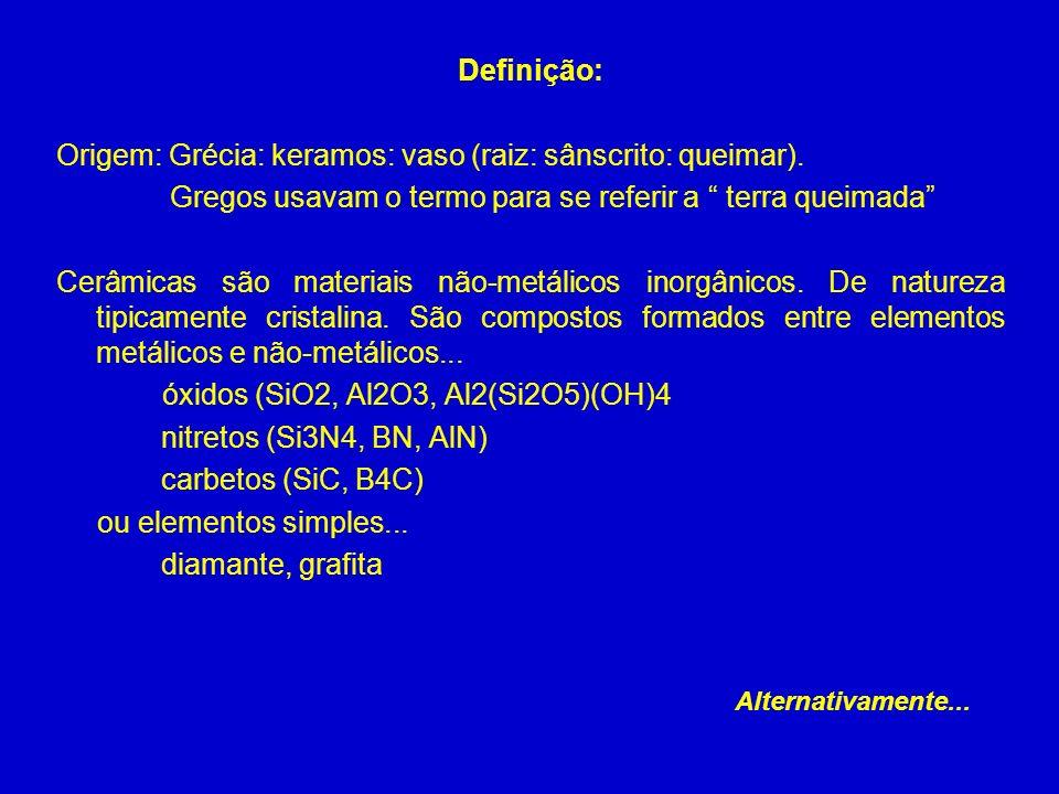 Definição: Origem: Grécia: keramos: vaso (raiz: sânscrito: queimar). Gregos usavam o termo para se referir a terra queimada Cerâmicas são materiais nã