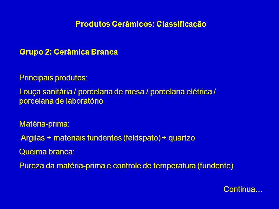 Grupo 2: Cerâmica Branca Produtos Cerâmicos: Classificação Principais produtos: Louça sanitária / porcelana de mesa / porcelana elétrica / porcelana d