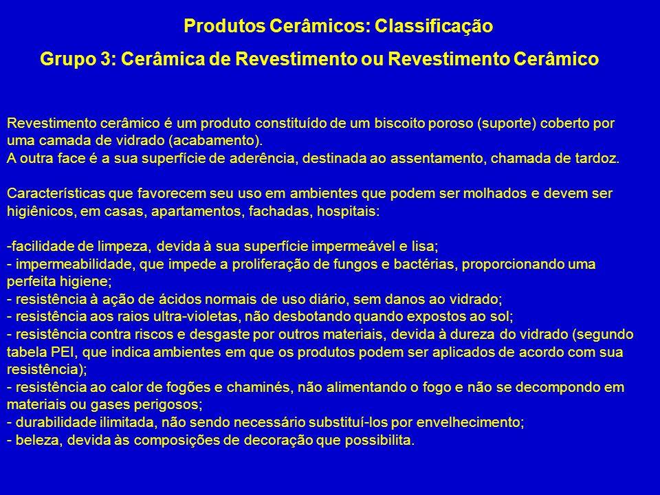 Grupo 3: Cerâmica de Revestimento ou Revestimento Cerâmico Produtos Cerâmicos: Classificação Revestimento cerâmico é um produto constituído de um bisc