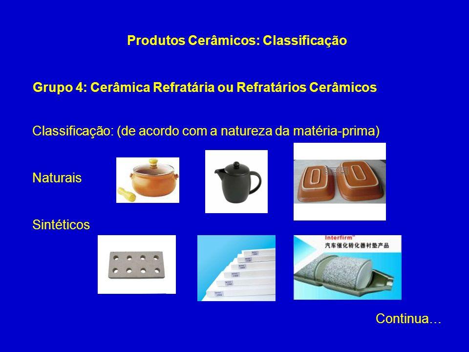 Grupo 4: Cerâmica Refratária ou Refratários Cerâmicos Produtos Cerâmicos: Classificação Classificação: (de acordo com a natureza da matéria-prima) Nat
