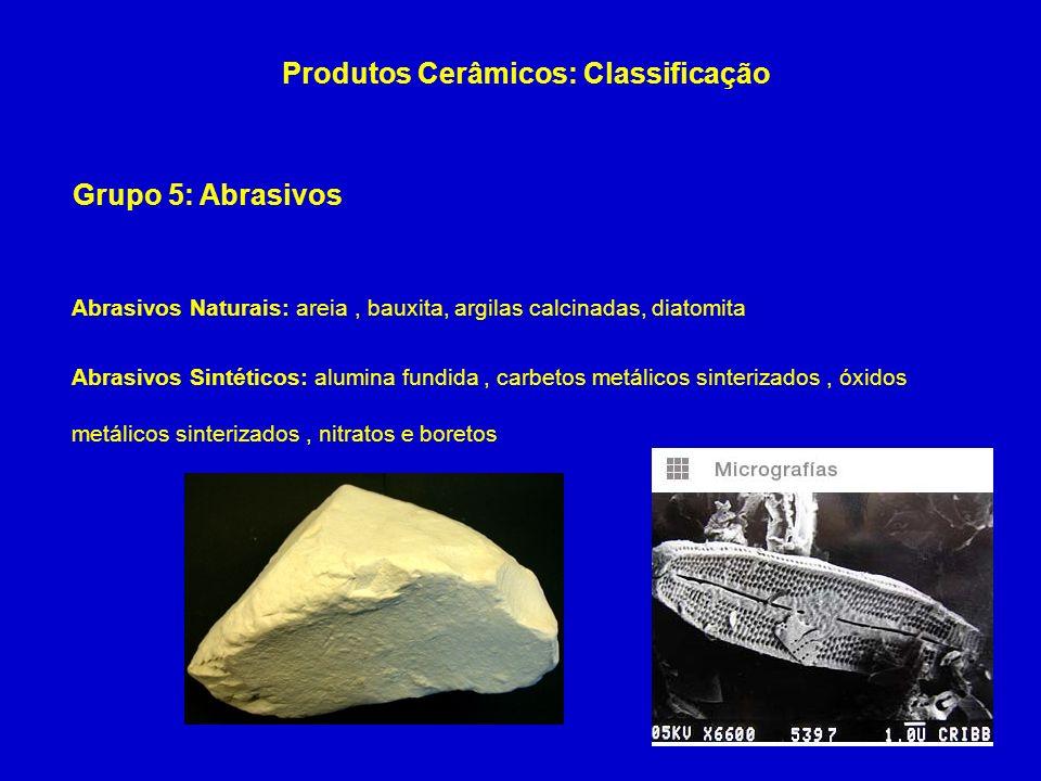 Grupo 5: Abrasivos Produtos Cerâmicos: Classificação Abrasivos Naturais: areia, bauxita, argilas calcinadas, diatomita Abrasivos Sintéticos: alumina f