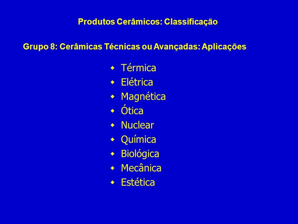 Térmica Elétrica Magnética Ótica Nuclear Química Biológica Mecânica Estética Produtos Cerâmicos: Classificação Grupo 8: Cerâmicas Técnicas ou Avançada