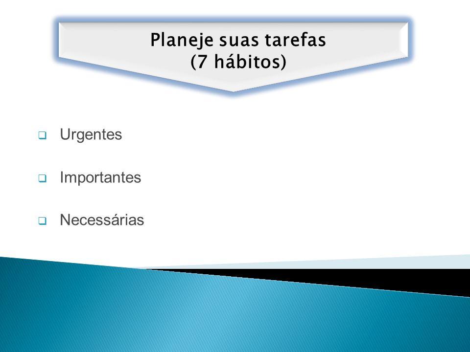Planeje suas tarefas (7 hábitos) Urgentes Importantes Necessárias
