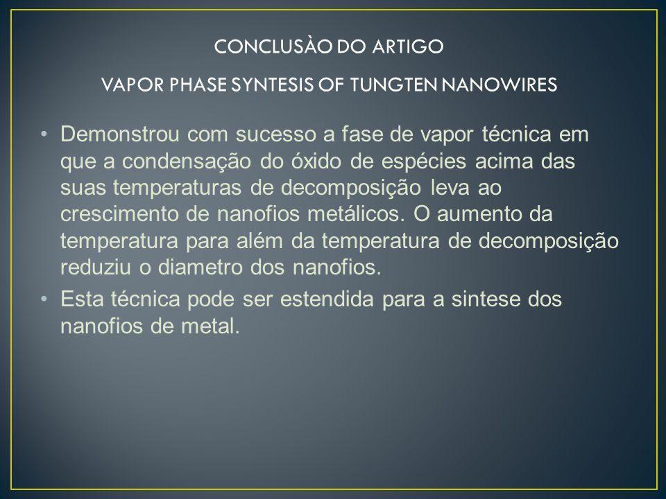 Demonstrou com sucesso a fase de vapor técnica em que a condensação do óxido de espécies acima das suas temperaturas de decomposição leva ao crescimen