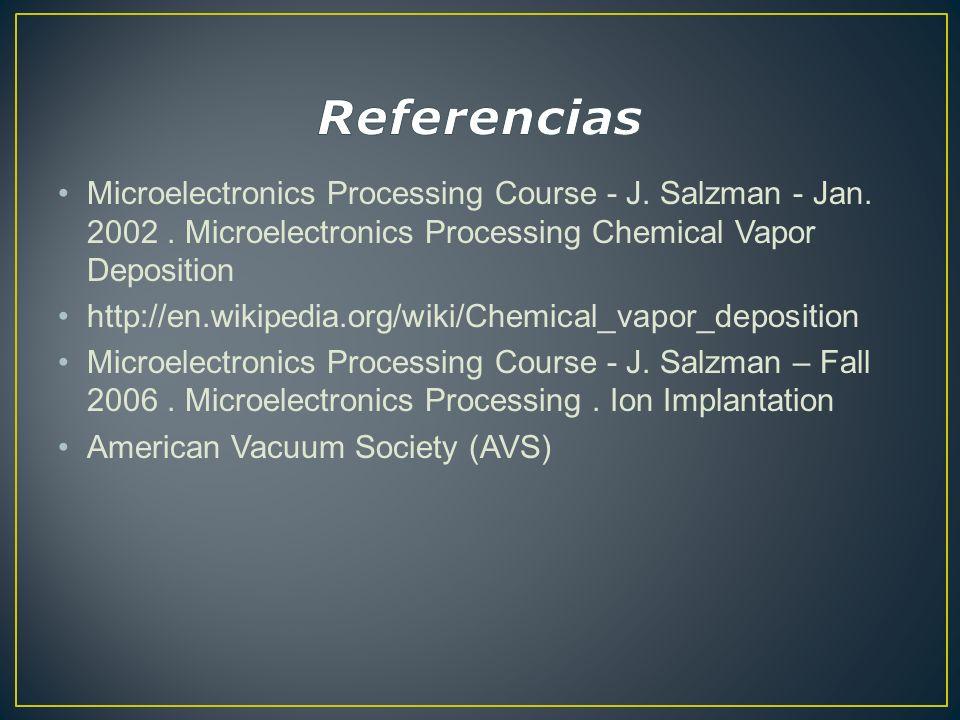 Microelectronics Processing Course - J. Salzman - Jan. 2002. Microelectronics Processing Chemical Vapor Deposition http://en.wikipedia.org/wiki/Chemic