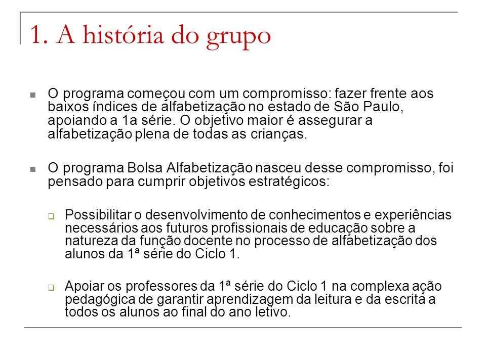 1. A história do grupo O programa começou com um compromisso: fazer frente aos baixos índices de alfabetização no estado de São Paulo, apoiando a 1a s