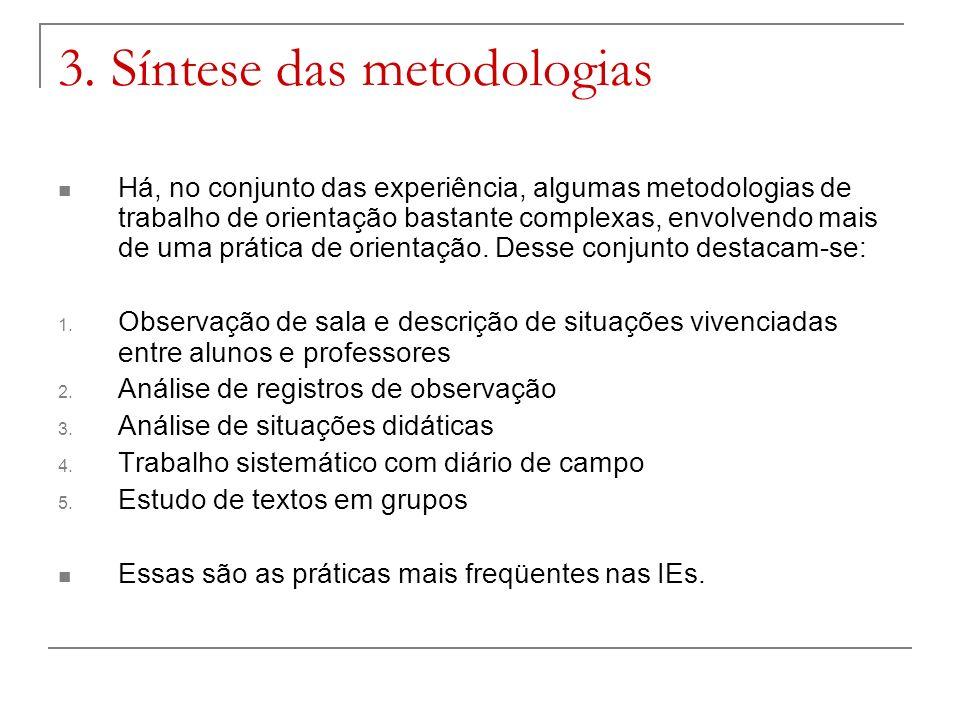 3. Síntese das metodologias Há, no conjunto das experiência, algumas metodologias de trabalho de orientação bastante complexas, envolvendo mais de uma