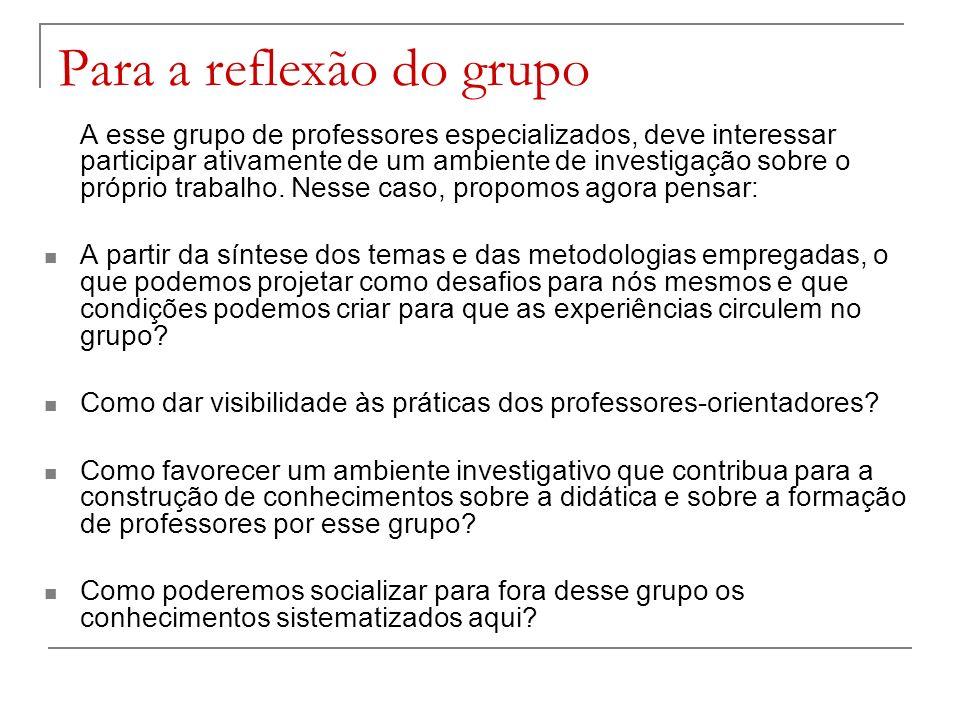 Para a reflexão do grupo A esse grupo de professores especializados, deve interessar participar ativamente de um ambiente de investigação sobre o próp