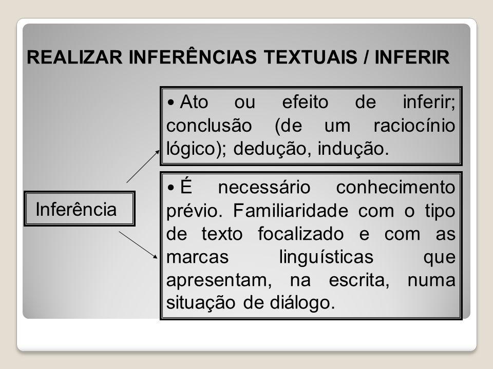 REALIZAR INFERÊNCIAS TEXTUAIS / INFERIR Inferência Ato ou efeito de inferir; conclusão (de um raciocínio lógico); dedução, indução. É necessário conhe