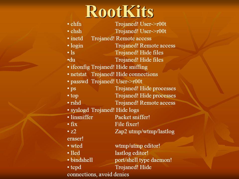 chfnTrojaned! User->r00t chshTrojaned! User->r00t inetdTrojaned! Remote access loginTrojaned! Remote access lsTrojaned! Hide files duTrojaned! Hide fi