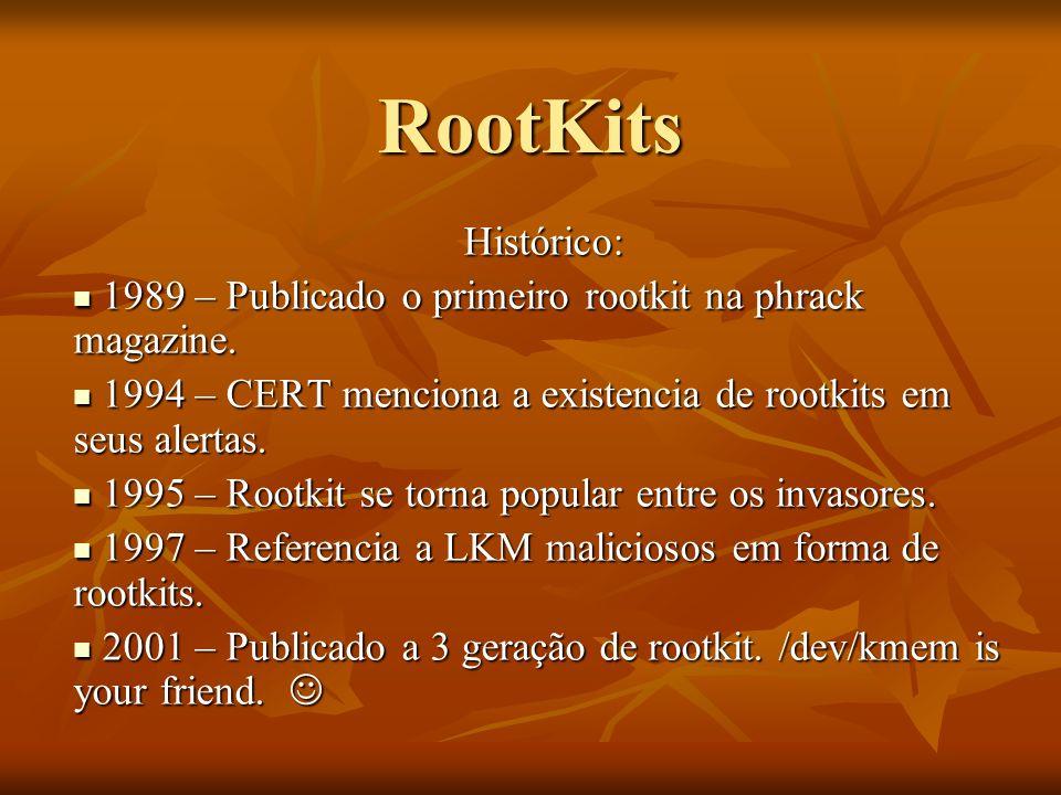 RootKits Histórico: 1989 – Publicado o primeiro rootkit na phrack magazine. 1989 – Publicado o primeiro rootkit na phrack magazine. 1994 – CERT mencio