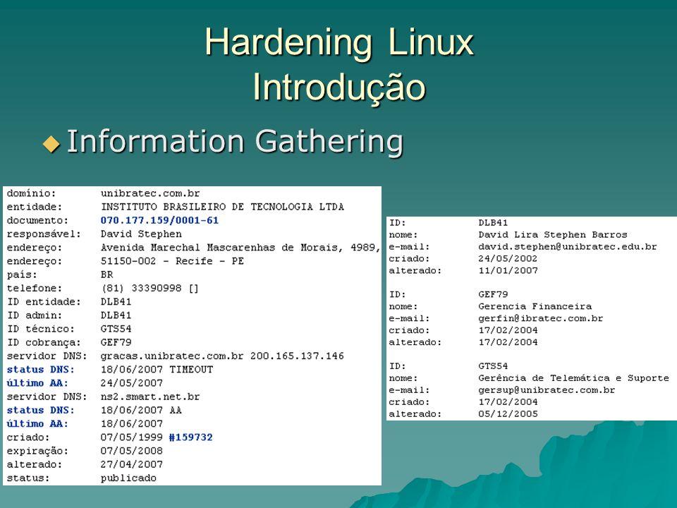 Hardening Linux Introdução Exploiting, Bruteforce, DoS, etc. Exploiting, Bruteforce, DoS, etc.