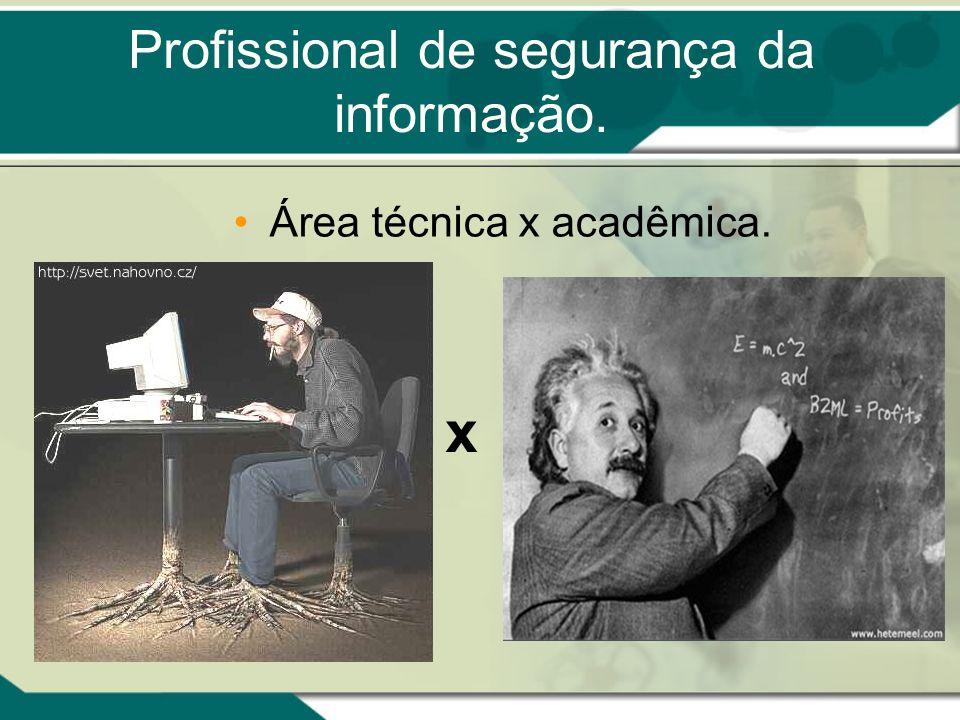 Profissional de segurança da informação. Área técnica x acadêmica. x
