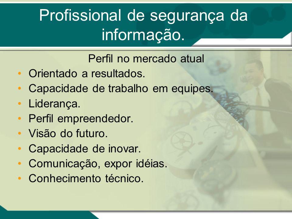 Profissional de segurança da informação. Perfil no mercado atual Orientado a resultados. Capacidade de trabalho em equipes. Liderança. Perfil empreend