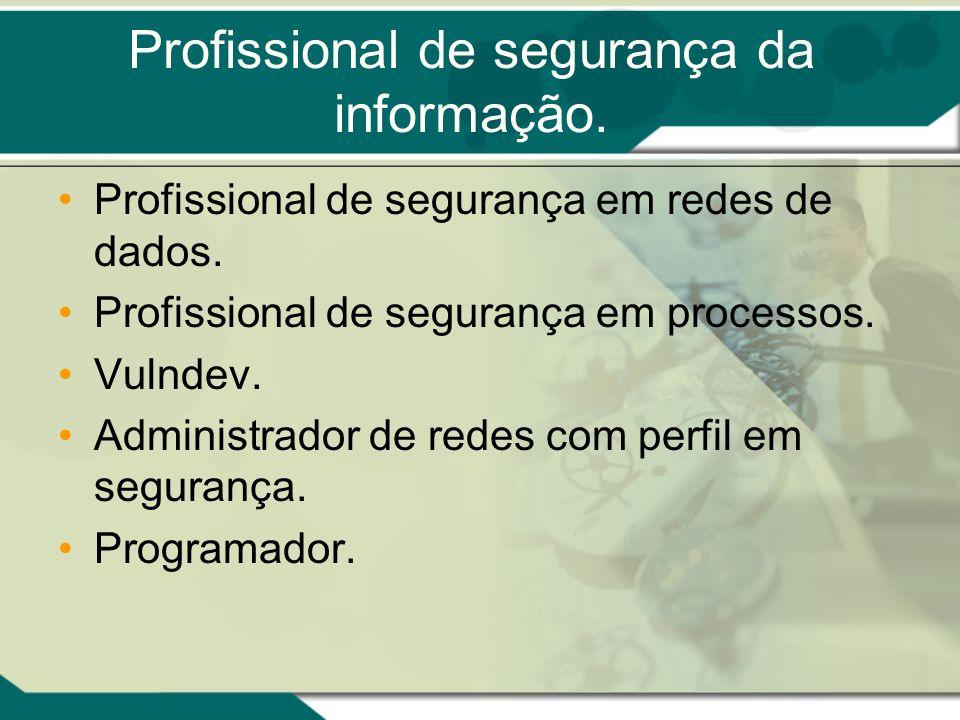 Profissional de segurança da informação. Profissional de segurança em redes de dados. Profissional de segurança em processos. Vulndev. Administrador d