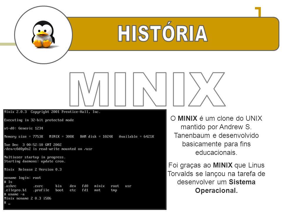 O MINIX é um clone do UNIX mantido por Andrew S. Tanenbaum e desenvolvido basicamente para fins educacionais. Foi graças ao MINIX que Linus Torvalds s