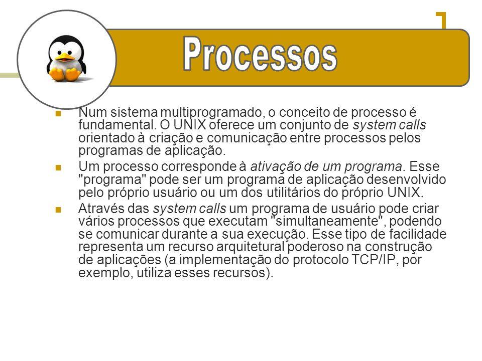 g Num sistema multiprogramado, o conceito de processo é fundamental. O UNIX oferece um conjunto de system calls orientado à criação e comunicação entr