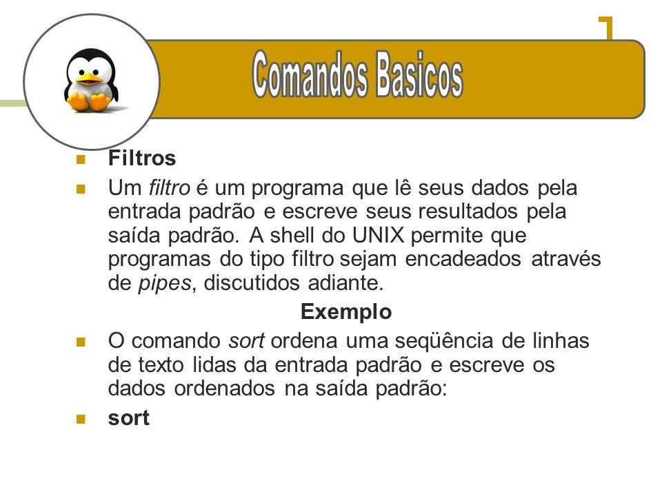 Filtros Um filtro é um programa que lê seus dados pela entrada padrão e escreve seus resultados pela saída padrão. A shell do UNIX permite que program