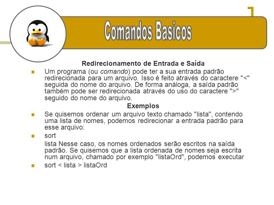 g Redirecionamento de Entrada e Saída Um programa (ou comando) pode ter a sua entrada padrão redirecionada para um arquivo. Isso é feito através do ca