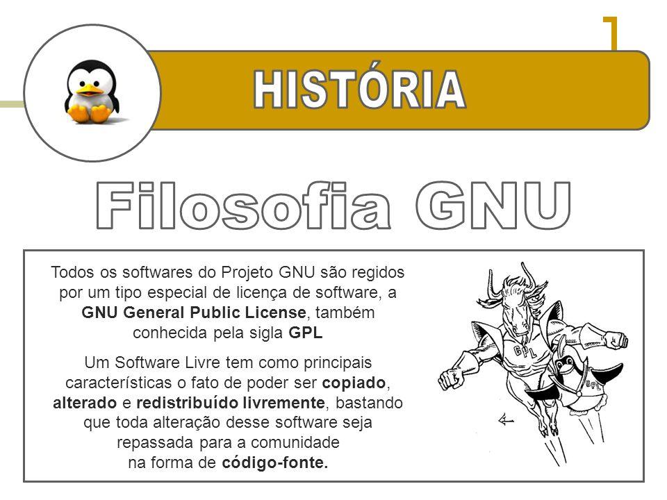 Todos os softwares do Projeto GNU são regidos por um tipo especial de licença de software, a GNU General Public License, também conhecida pela sigla G