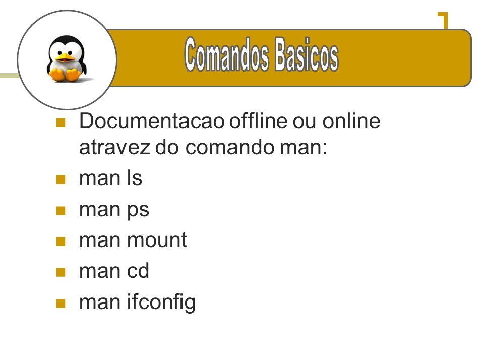 Documentacao offline ou online atravez do comando man: man ls man ps man mount man cd man ifconfig