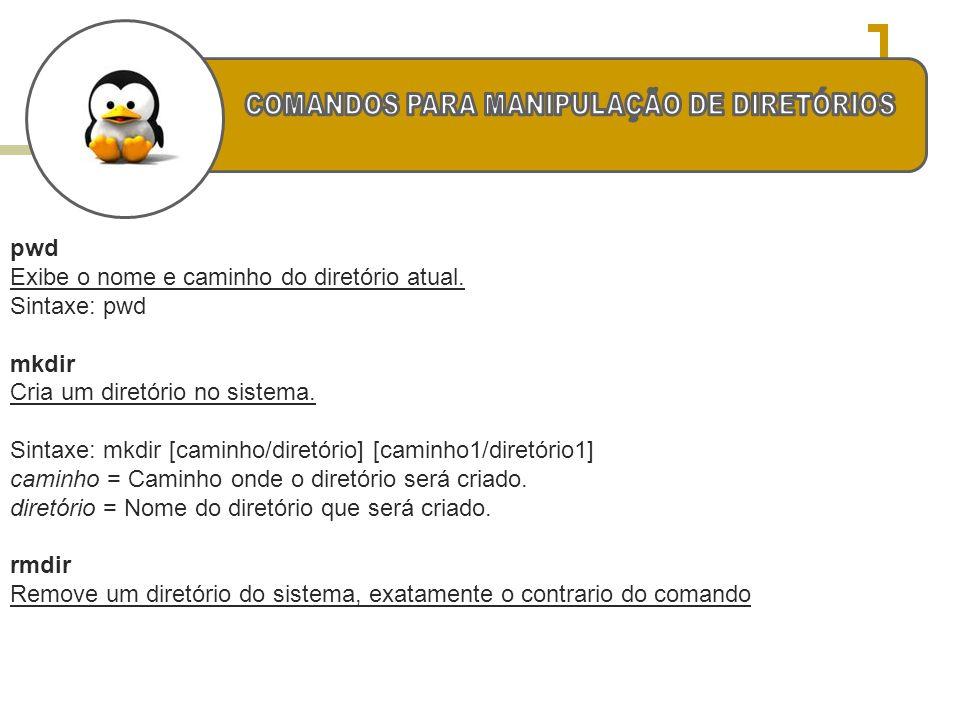 pwd Exibe o nome e caminho do diretório atual. Sintaxe: pwd mkdir Cria um diretório no sistema. Sintaxe: mkdir [caminho/diretório] [caminho1/diretório