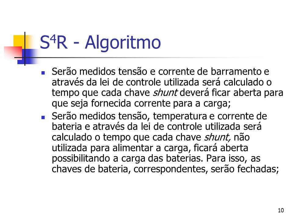 10 S 4 R - Algoritmo Serão medidos tensão e corrente de barramento e através da lei de controle utilizada será calculado o tempo que cada chave shunt