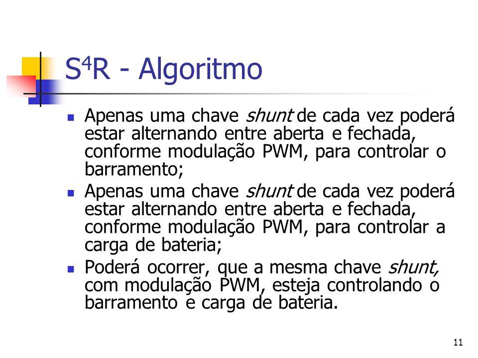 11 S 4 R - Algoritmo Apenas uma chave shunt de cada vez poderá estar alternando entre aberta e fechada, conforme modulação PWM, para controlar o barra