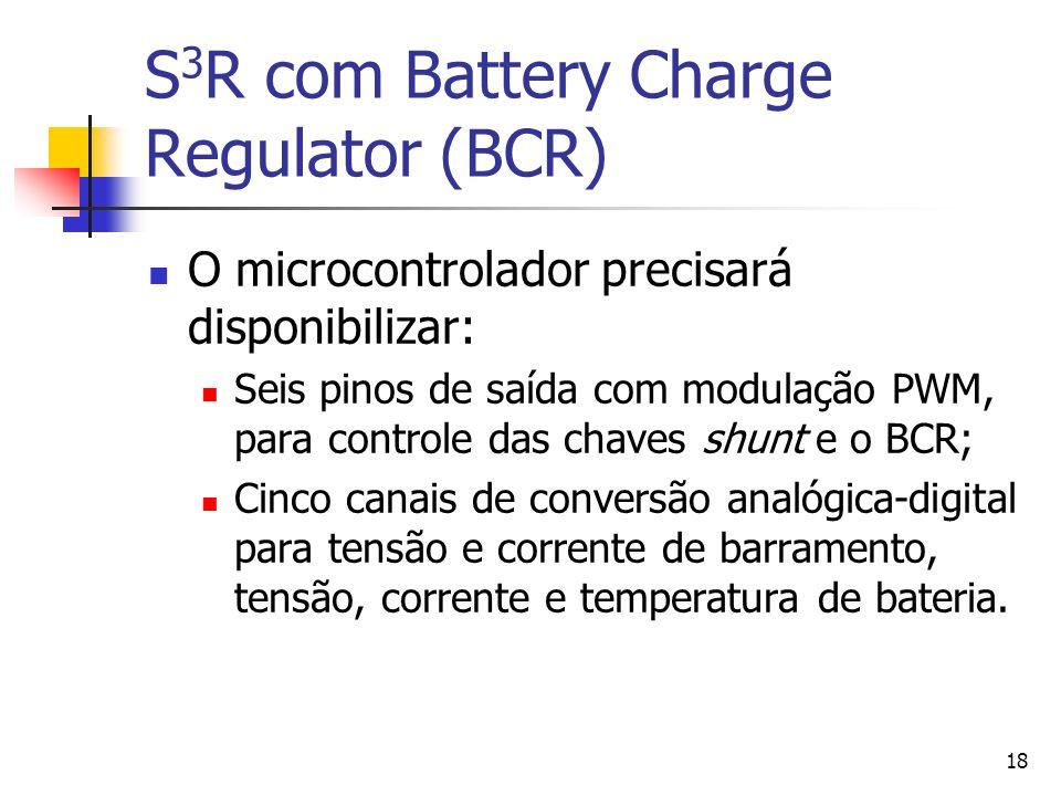 18 S 3 R com Battery Charge Regulator (BCR) O microcontrolador precisará disponibilizar: Seis pinos de saída com modulação PWM, para controle das chav