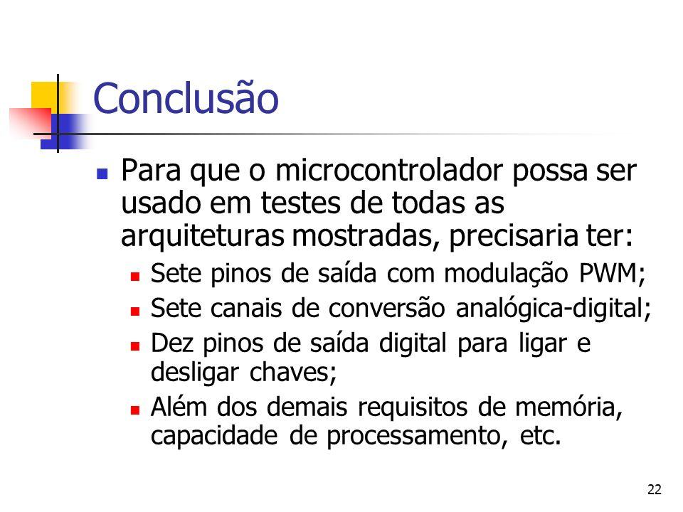 22 Conclusão Para que o microcontrolador possa ser usado em testes de todas as arquiteturas mostradas, precisaria ter: Sete pinos de saída com modulaç