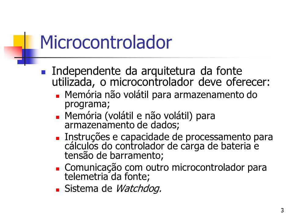 3 Microcontrolador Independente da arquitetura da fonte utilizada, o microcontrolador deve oferecer: Memória não volátil para armazenamento do program